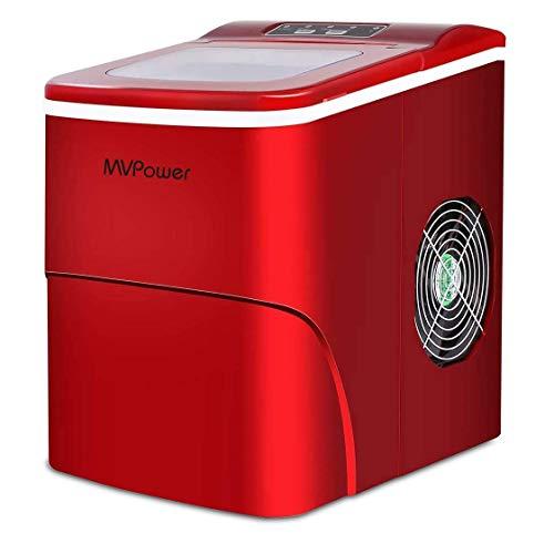 MVPower Eiswürfelbereiter/Eiswürfelmaschine / 12kg Eiswürfel (26 lbs) / Produktionszeit 6-13 Minuten / 2 Eiswürfel-Größen / 80W~120W / 2.2L Wassertank/ohne Wasseranschluss/Silber Ice Maker (Rote)