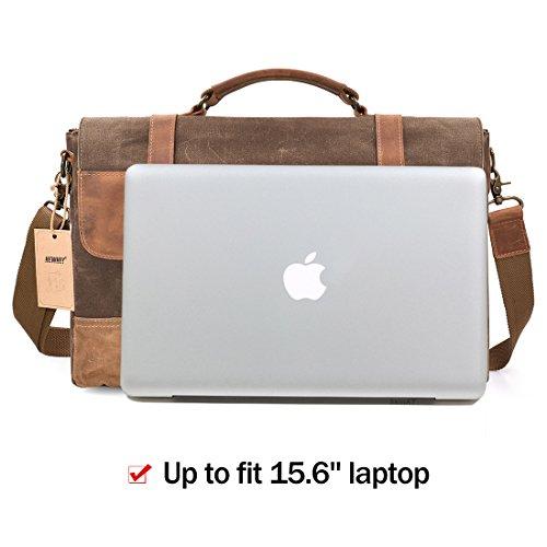 NEWHEY Messenger Bag Leder Laptoptasche Aktentasche Etui 15 Zoll gewachst wasserdicht Canvas Leder Aktentasche Herren Echtes Leder Groß Satchel Computer Tasche Schulter College Tasche Braun