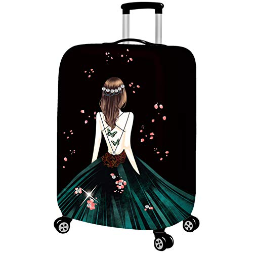 hellomiko Luggage Protector Case Washable Travel Luggage Cover Cute Girl Pattern Printed Suitcase Protector Fits 18-32 Inch Luggage (Suitcase not Included)