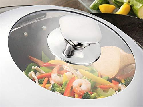 Utensilios de cocina de acero inoxidable Tapa para sartén para wok de cocina visible Tapa universal para sartén de acero inoxidable Tapa visible reemplazada para sartén Wok Cubierta para wok de cúpul