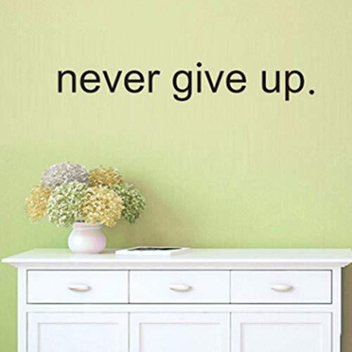 Dalxsh Nützlicher heißer Verkauf geben Sie nie auf englische Wörter Motto-Wandaufkleber-Zitat für Schlafzimmer Wohnzimmer-Wand-P