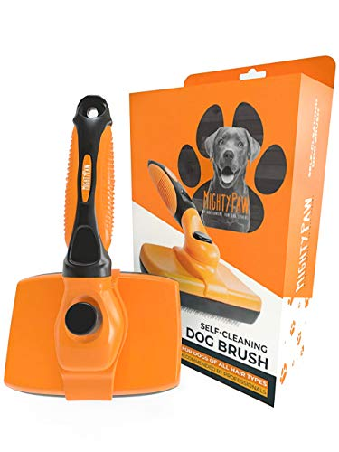 Mighty Paw Dog Grooming Brush | Durable Self-Cleaning Pet Brush. 100% Stainless Steel Soft Bent...