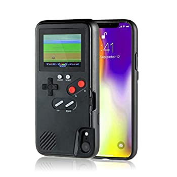 Gameboy iPhone Case Handheld Game Console Phone Case with 36 Small Games Color Screen Retro 3D Gameboy Design for iPhone XR Black