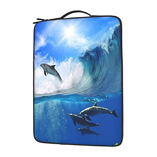 Ocean Sea Dolphins Underwater Waves Laptop Sleeve Case, Portable Protective Laptop Sleeve Computer Pocket Case Tablet Briefcase Compatible with 13 in 14 in 15.6 inch Laptop Notebook