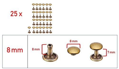My Belt - 25 Stück Hohlnieten für Leder, Ledernieten 8mm Altmessing, Doppelkappe Nieten, Gürtelnieten Kappe
