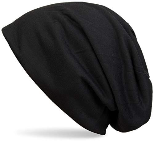 styleBREAKER Klassische Slouch Beanie Mütze, leicht und weich, Longbeanie, Unisex 04024018, Farbe:Schwarz