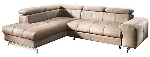 Mivano Ecksofa Chef / L-Sofa mit Schlaffunktion, Bettkasten und verstellbaren Kopfstützen / 262 x 72 x 206 / Mikrofaser Braun