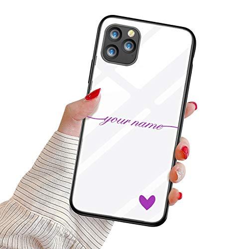 Suhctup Funda Personaliza Compatible con iPhone 6/iPhone 6S Carcasa de Vidrio Templado con Amor y Texto Diseño Personablizable Regalo Ultrafina Dura Antigolpes Proteccion Caso(Púrpura)