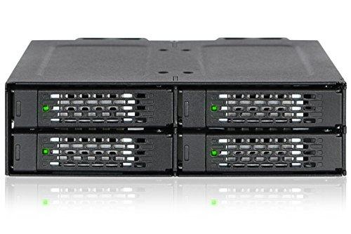 ICY DOCK U.2 NVMe Hot Swap Wechselrahmen für 4X 2,5 Zoll (6,4cm) SSD bis je 32GBit/s - Vollmetall ToughArmor MB699VP-B