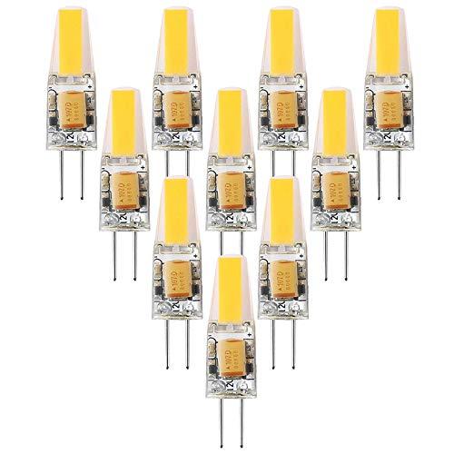 Lámparas LED G4, bombillas LED de 6 W que reemplazan a las lámparas halógenas de 30 W, 300 lm, blanco cálido 3000 K, 12 V CA / CC, sin parpadeo, no regulable, lámpara de filamento LED G4, paqu