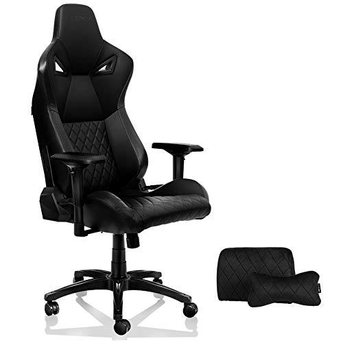 KARNOX Chaise de Bureau de Jeu Legend TR Racing Style avec Hauteur et accoudoirs réglables, inclinable Ergonomique à 155 °, Dossier Haut verrouillable avec appuie-tête intégré (Noir)