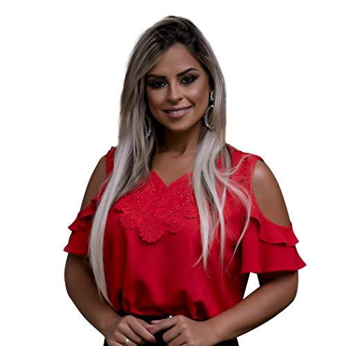 Blusa Feminina Social Moda Evangelica Detalhe Perola E Renda(P/38-40, Vermelho)