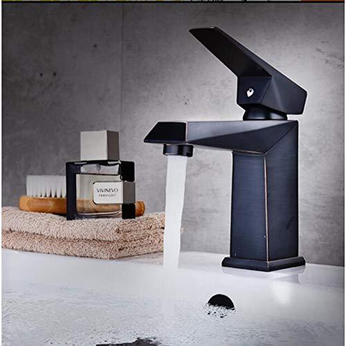 YTYASO Grifo De Lavabo Cuadrado De Latón, Agua Caliente Y Fría, Monomando De Aceite Negro, Grifo De Lavabo De Baño Cepillado