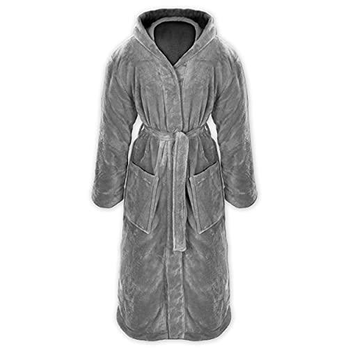 Gräfenstayn® Damen & Herren Kuschelfleece Bademantel mit Kapuze Größe S-XXXL Öko-Tex Standard 100 Flanell Fleece (L, Grau)