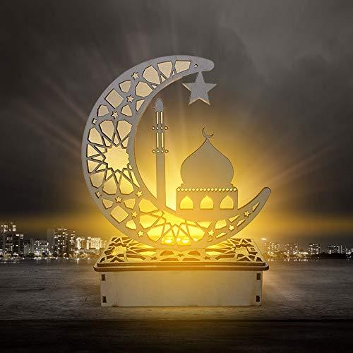 Eid Mubarak Ramadan LED Holz Lampe, Muslim Ramadan Festival Dekoration Halbmond Star Lanterns, Halbmond Nachtlicht Für Muslimischen Islam Eid, Wesentliche Dekorationen für Ramadan-Gebete