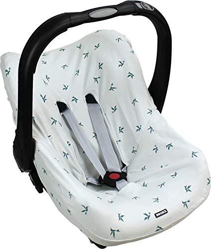 Dooky Seat Cover 0 Origami Swallow Grey Cubierta para el asiento de coche del bebé (para sistema de cinturón de 3 y 5 puntos, grupo de edad 0, adecuado para la mayoría de las marcas) Gris (126804)