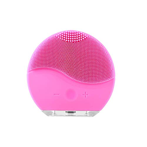 HYLH Silicone Cleansing Instrument Gentle Exfoliating Rechargeable Waterproof Facial Brush, Deep Cleansing, Blackhead Removal and Massage, Pink