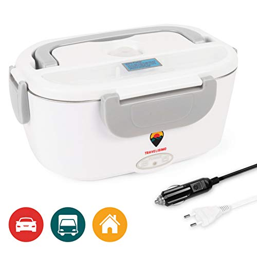 TRAVELISIMO 2 in 1 Elektrische Lunchbox für AutosLkw und Arbeit 220V 12V 40W Edelstahl-Kochplatte 15L Kegel mit Löffel inklusive und 2 Fächern