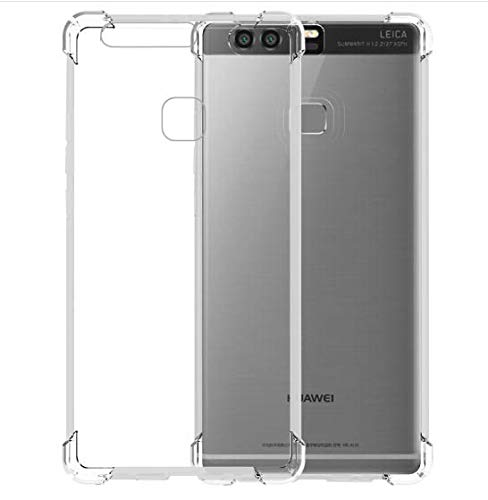 Jaorty Case Compatible for Huawei P9 Case,Crystal Clear Reinforced Corners TPU Bumper Cushion Anti-Scratch Hybrid Rugged Transparent Back Cover Case for Huawei P9,Clear