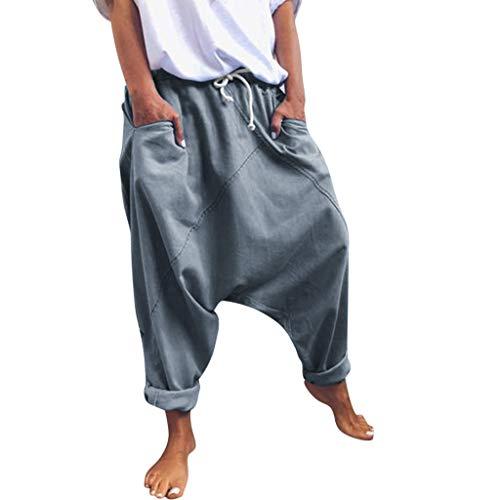 RISTHY Pantalones Anchos Mujer, Pantalones Tallas Grandes Baggy Aladin Bombacho Pantalones Casuales Flojos de Hip Hop Holgados Pantalones Deportivos Casual para Mujeres y Hombres