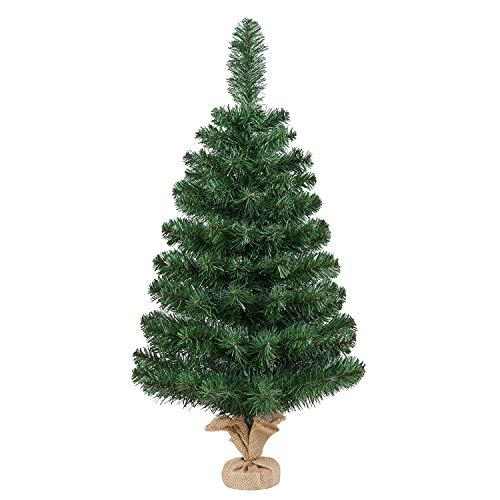Yaheetech 90cm Weihnachtsbaum, Mini Kunstweihnachtsbaum, Tisch-Weihnachtsbaum, Weihnachtsdeko, Material PVC, inkl. Zementbasis