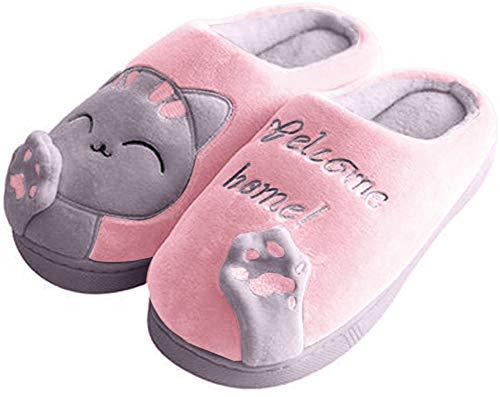 Minetom Herren Damen Winter Baumwolle Pantoffeln Dickere Wärme Weiche Hausschuhe Kuschelige Katze Home rutschfeste Slippers D Rosa Grau EU 39 40