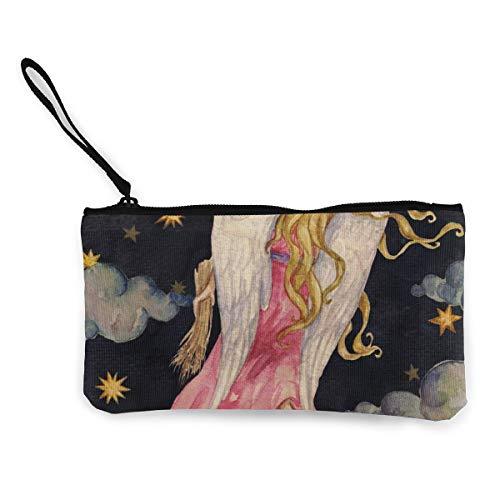 Rterss mooie blond meisje engel nacht hemel achtergrond muntportemonnee portemonnee tas geld zak veranderen zak sleutelhouder mobiele telefoon tas met handvat bedrukt canvas op maat
