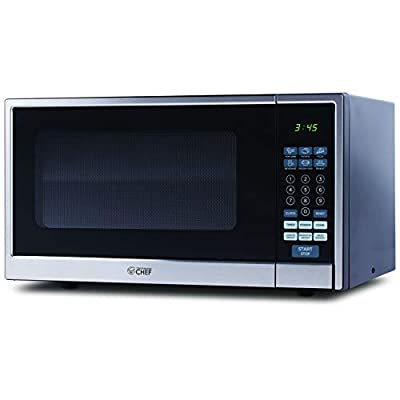 Commercial Chef Countertop Microwave, 1.1 Cubic Feet, Black With Stainless Steel Trim