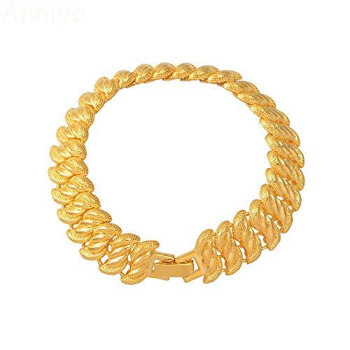 24 Karat Gold Farbe Männer Armreifen Dubai Armreif Armbänder Braut Hochzeit Frauen Schmuck Äthiopien Arabisch Afrika Handkette Länge 20 Cm X 1,3 Cm
