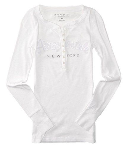 AEROPOSTALE Womens Bling Sequin Thermal Henley Shirt Small White