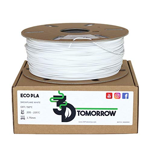 3DTomorrow Snowflake White Eco PLA Filament 1.75mm, 100% Recyclable Cardboard Spool - Eco Friendly 3D Printer Filament, Contains recycled PLA. Matte PLA