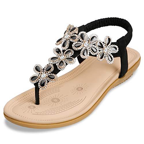 ZOEREA Damen Sandalen Sommer Flach Sandals, Frauen Bohemia Strass Sandals PU Leder Elastischen Strand Sommerschuhe Zehentrenner Schwarz,39