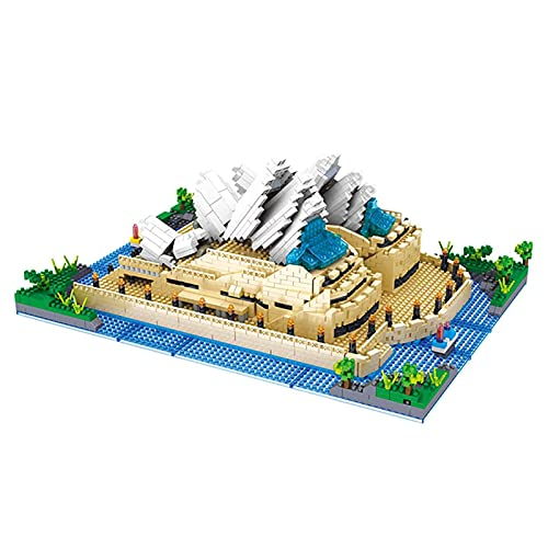 kyman Modelo Ladrillos - Modelo Sydney Opera House Bloques de construcción de Microdiamond Arquitectura, Modelo de Montaje DIY Cumpleaños (Size : 2552PCS)