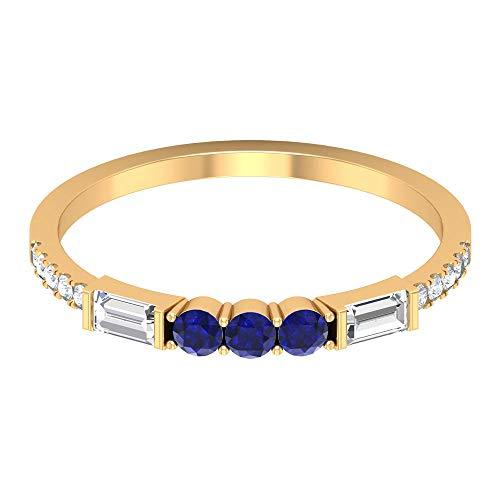Anillo de eternidad apilable, anillo de piedra azul de forma redonda de 0,16 quilates, anillo de zafiro azul, anillo de boda, anillo de media eternidad de diamante, oro de 10 quilates. azul
