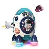 CUTE STONE Musical Rocket Toys, Electronic Toy W/ Lights & Sounds, Play Drum, Piano Music Key, Detachable Toy Space Shuttle, Astronaut, Early Educational Development Gift for Infants Toddlers Boys