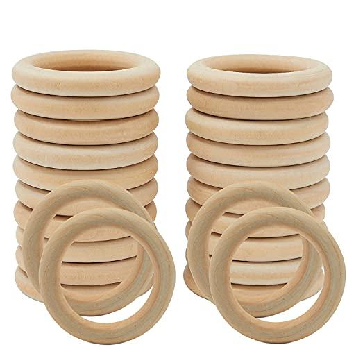 Wednesday( 55mm/24PCS)Aros de madera para manualidades/ artesanías , anillas madera bebe mordedor,asas para bolsos de madera/servilletero madera/argollas de madera para cortinas/ aros macrame