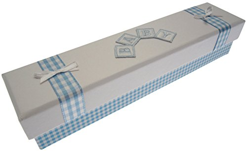 White Cotton Cards certificat de naissance support (Bleu Carreaux)