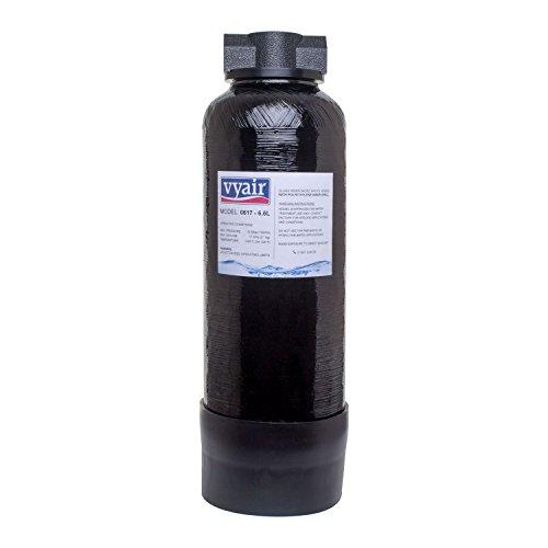 """Vyair 0617 Recipiente de resina reforzada de alta presión para la desionización del agua (negro) (6,6 litros) con accesorios de 3/8"""" vacío"""