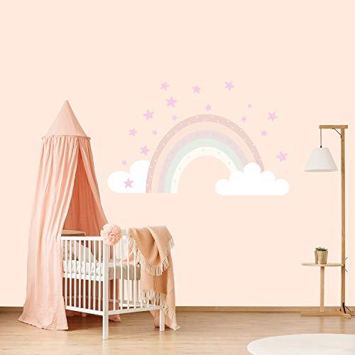 Pastell Regenbogen Sterne und Wolken Wandaufkleber Regenbogen Wandkunst Regenbogen Wandtattoo Einhorn Regenbogen DecalPastel Girl Room Stickers SA 66