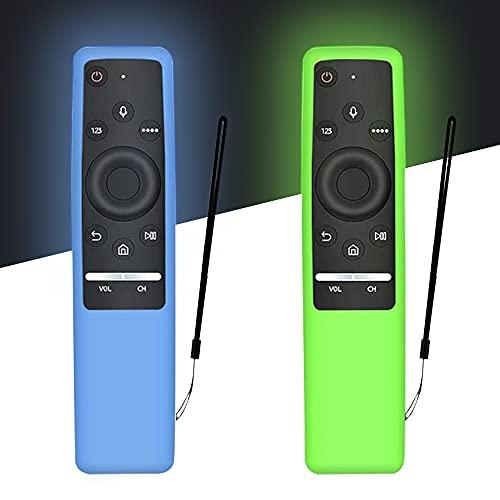 AIYAAIYA 2 PCS Estuche actualizado Remote Control para Samsung Smart TV Serie BN59, Funda Protectora de Silicona para Samsung Mando,con anticaída/Antideslizante/Rayado/Polvo/Impermeable(Azul + Verde)