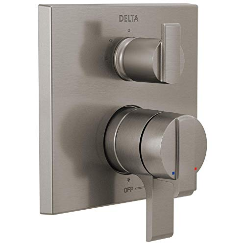 Delta Faucet Ara 17 Series Dual-Function Shower Handle Valve Trim Kit with 3-Setting Integrated Diverter, Stainless T27867-SS (Valve Not Included)