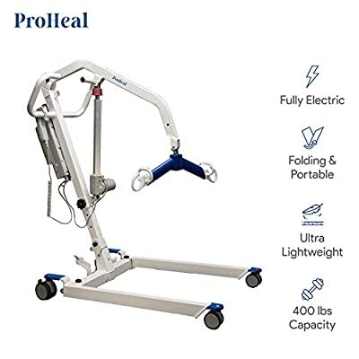 ProHeal Portable Patient Lift - Compact Folding Full Body Patient Transfer Lifter for Home Use and Facilities - Low Bed and Chair Lifting, 400 Pound Weight Capacity, 2 Point Spreader Bar