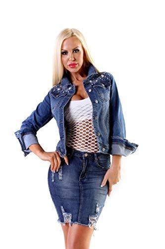 OSAB-Fashion 10459 Damen Damen Jeansjacke Jeans Jacke Stretch Denim Perlen Glitzer Übergrößen