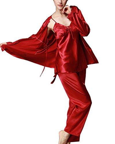 Damen Schlafanzug,3-in-1 Satin Schlafanzug Nachtwäsche Nachtkleid Lingerie Pyjamas, Lange Ärmel & Lange Hose