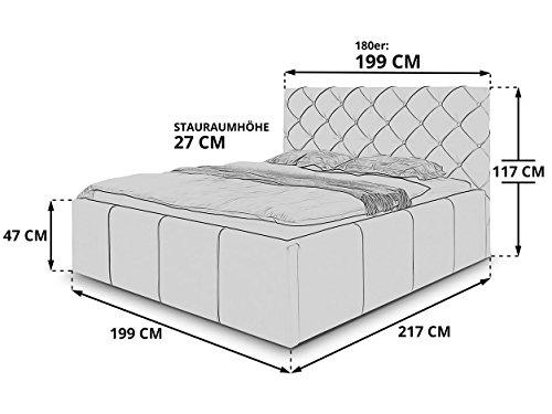 Luxus Polsterbett mit Bettkasten Nelly XXL 180×200 cm Kunslederbett Doppelbett Ehebett Weiß - 4