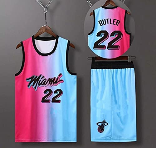 Haoshangzh55 Jersey De Baloncesto para Hombre - NBA Miami Heat # 22 Jimmy Butler, Hombre Transpirable Jersey Fans Sin Mangas Chaleco De Baloncesto Camiseta,XXL(185~190CM)