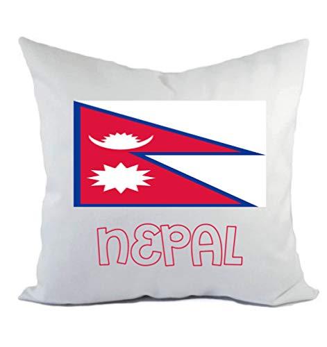 Typolitografie Ghisleri kussen wit Nepal met vlag kussensloop en vulling 40 x 40 cm van polyester