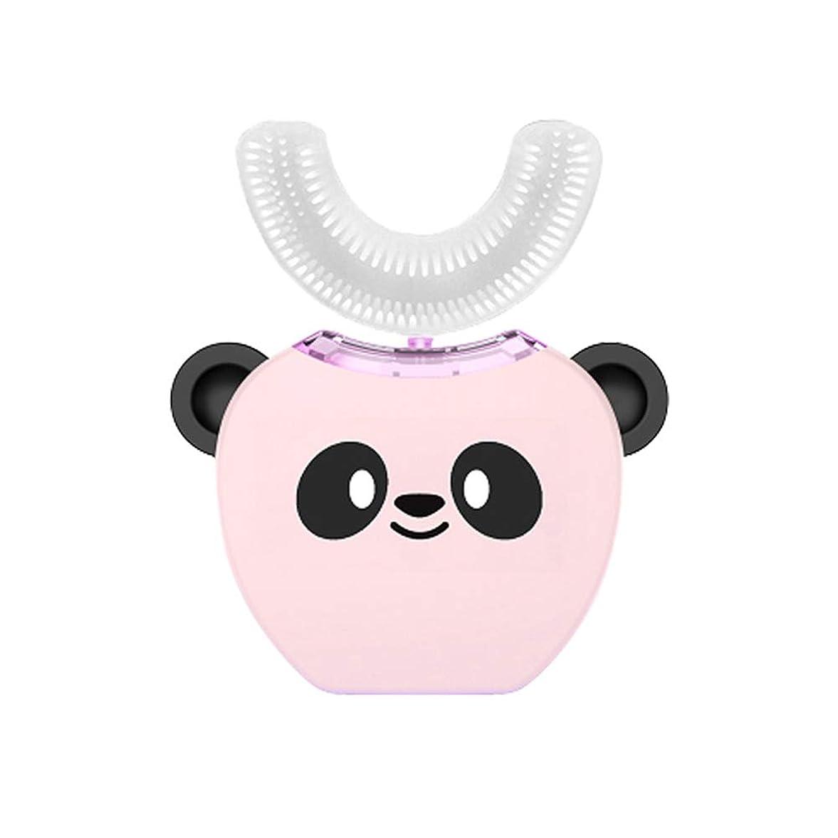 へこみ素人ペック子供のU字型超音波電動歯ブラシ子供自動歯磨き粉360°歯ホワイトニング3-7年子供