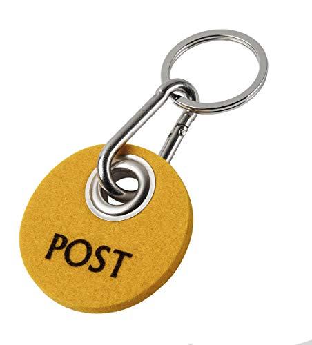 Metz Schlüsselanhänger Schlüsselband RONDO - Aufdruck POST Filzfarbe sonnengelb, Flockfarbe dunkelbraun