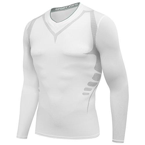 AMZSPORT Herren Kompressions-Shirt langärmlig Funktionsshirts Baselayer Langarm Weiß M